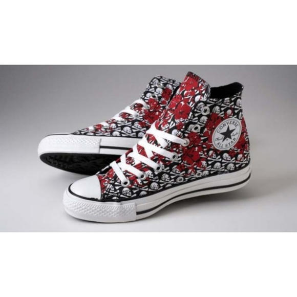 Converse Chuck skulls red flowers cool sneakers